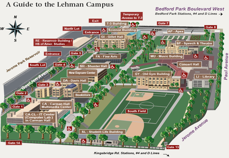 Lehman College Map The Lehman Center for School/College Collaboratives   Campus Map
