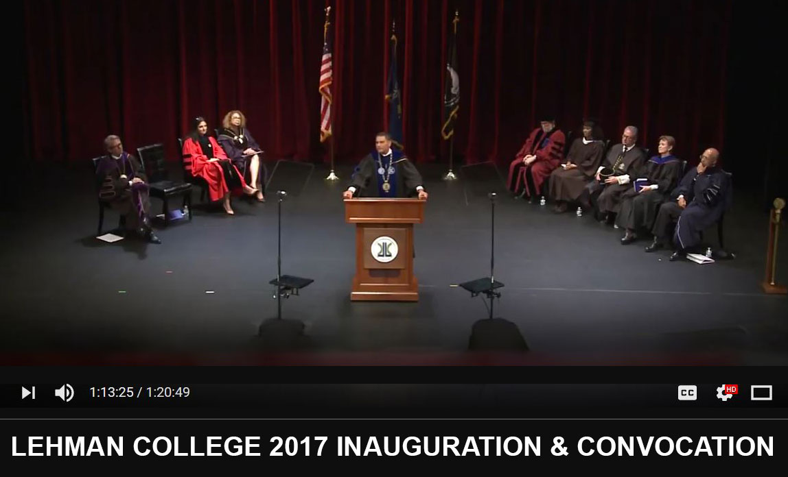 Photo of President Cruz Addressing the audience at the 2017 Inauguration and Convocation Event