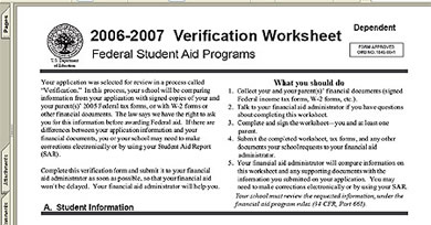 fafsa verification worksheet. Black Bedroom Furniture Sets. Home Design Ideas